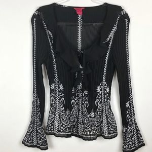 Sunny Leigh Black White Bell Sleeve Blouse Top XL